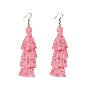 🆕Pastel Pink 4 Layer Fiesta Tassel Earrings